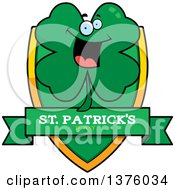 Clipart Of A St Patricks Day Four Leaf Clover Character Shield Royalty Free Vector Illustration by Cory Thoman