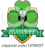 Clipart Of A Happy Shamrock Mascot Shield Royalty Free Vector Illustration