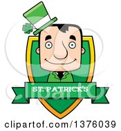 Clipart Of A Block Headed White Irish St Patricks Day Man Shield Royalty Free Vector Illustration by Cory Thoman