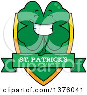 Clipart Of A Happy Four Leaf Clover Character Shield Royalty Free Vector Illustration
