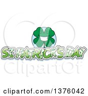 Clipart Of A Happy Four Leaf Clover Character With St Patricks Day Text Royalty Free Vector Illustration