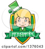 Clipart Of A Blond White St Patricks Day Girl Shield Royalty Free Vector Illustration by Cory Thoman