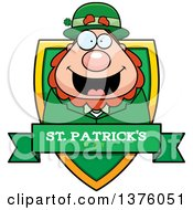 Clipart Of A Happy St Patricks Day Leprechaun Shield Royalty Free Vector Illustration by Cory Thoman