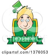 Clipart Of A Skinny Blond White Male Irish St Patricks Day Leprechaun Shield Royalty Free Vector Illustration by Cory Thoman