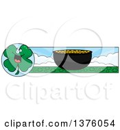 Clipart Of A St Patricks Day Four Leaf Clover Character Banner Royalty Free Vector Illustration by Cory Thoman