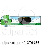 Clipart Of A Happy Shamrock Mascot And Pot Of Gold Banner Royalty Free Vector Illustration