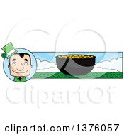 Clipart Of A Block Headed White Irish St Patricks Day Man And Pot Of Gold Banner Royalty Free Vector Illustration