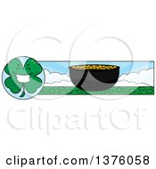 Clipart Of A Happy Four Leaf Clover Character And Pot Of Gold Banner Royalty Free Vector Illustration by Cory Thoman