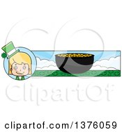 Clipart Of A Blond White St Patricks Day Girl Banner Royalty Free Vector Illustration by Cory Thoman