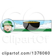 Clipart Of A Red Haired Irish St Patricks Day Boy Banner Royalty Free Vector Illustration