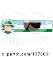 Clipart Of A Red Haired Irish St Patricks Day Girl Banner Royalty Free Vector Illustration