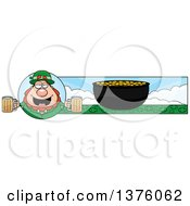 Clipart Of A Happy St Patricks Day Leprechaun Banner Royalty Free Vector Illustration by Cory Thoman
