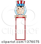 Clipart Of A Block Headed White Man Uncle Sam Bookmark Royalty Free Vector Illustration by Cory Thoman