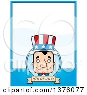 Clipart Of A Block Headed White Man Uncle Sam Page Border Royalty Free Vector Illustration by Cory Thoman