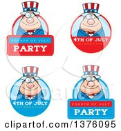 Badges Of A Chubby Young Fourth Of July Uncle Sam