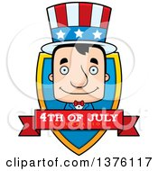 Clipart Of A Block Headed White Man Uncle Sam Shield Royalty Free Vector Illustration by Cory Thoman