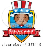 Patriotic Fourth Of July Black Boy Shield