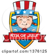 Clipart Of A Patriotic Fourth Of July White Girl Shield Royalty Free Vector Illustration by Cory Thoman
