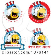 Clipart Of Badges Of A Bald Eagle 4th Of July Uncle Sam Royalty Free Vector Illustration
