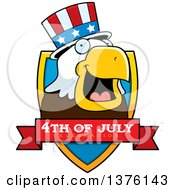 Clipart Of A Bald Eagle 4th Of July Uncle Sam Shield Royalty Free Vector Illustration by Cory Thoman