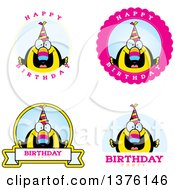 Clipart Of Badges Of A Happy Birthday Toucan Wearing A Party Hat Royalty Free Vector Illustration