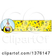 Clipart Of A Happy Birthday Toucan Wearing A Party Hat Banner Royalty Free Vector Illustration by Cory Thoman