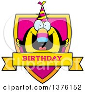 Clipart Of A Happy Birthday Toucan Wearing A Party Hat Shield Royalty Free Vector Illustration by Cory Thoman