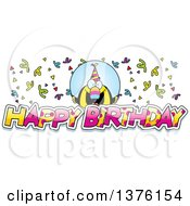 Clipart Of A Happy Birthday Toucan Wearing A Party Hat With Text Royalty Free Vector Illustration by Cory Thoman