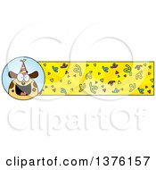 Clipart Of A Happy Birthday Dog Wearing A Party Hat Banner Royalty Free Vector Illustration