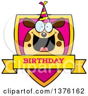 Clipart Of A Happy Birthday Dog Wearing A Party Hat Shield Royalty Free Vector Illustration