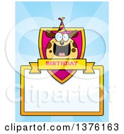 Clipart Of A Happy Birthday Dog Wearing A Party Hat Page Border Royalty Free Vector Illustration