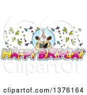 Clipart Of A Happy Birthday Dog Wearing A Party Hat With Text Royalty Free Vector Illustration