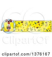 Clipart Of A Birthday Gift Character And Confetti Banner Royalty Free Vector Illustration