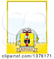Clipart Of A Birthday Gift Character Page Border Royalty Free Vector Illustration