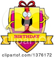 Clipart Of A Birthday Gift Character Shield Royalty Free Vector Illustration