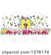 Clipart Of A Birthday Gift Character With Confetti And Text Royalty Free Vector Illustration