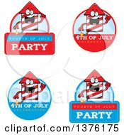 Clipart Of Badges Of A Rocket Firework Mascot Royalty Free Vector Illustration