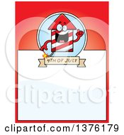Clipart Of A Rocket Firework Mascot Page Border Royalty Free Vector Illustration