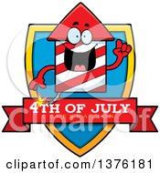 Clipart Of A Rocket Firework Mascot Shield Royalty Free Vector Illustration