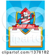 Clipart Of A Rocket Firework Mascot Page Border Royalty Free Vector Illustration by Cory Thoman