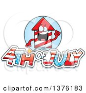 Clipart Of A Rocket Firework Mascot With 4th Of July Text Royalty Free Vector Illustration