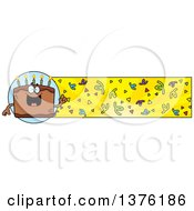 Clipart Of A Chocolate Birthday Cake Character And Confetti Banner Royalty Free Vector Illustration