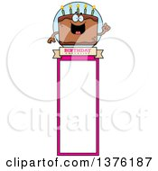 Clipart Of A Chocolate Birthday Cake Character Bookmark Royalty Free Vector Illustration by Cory Thoman