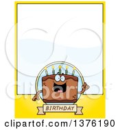 Clipart Of A Chocolate Birthday Cake Character Page Border Royalty Free Vector Illustration