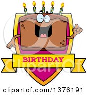 Clipart Of A Chocolate Birthday Cake Character Shield Royalty Free Vector Illustration by Cory Thoman