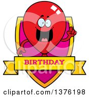 Clipart Of A Red Party Balloon Character Shield Royalty Free Vector Illustration by Cory Thoman