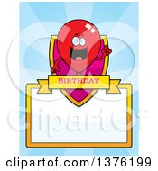 Clipart Of A Red Party Balloon Character Page Border Royalty Free Vector Illustration by Cory Thoman
