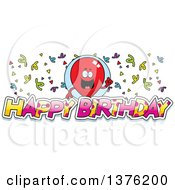 Clipart Of A Red Party Balloon Character With Confetti And Text Royalty Free Vector Illustration by Cory Thoman
