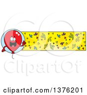 Clipart Of A Red Party Balloon Character And Confetti Banner Royalty Free Vector Illustration