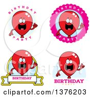 Badges Of A Red Party Balloon Character